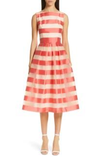 LELA ROSE Boatneck Stripe Organza Orange Dress
