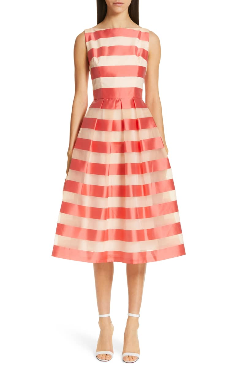 LELA ROSE Boatneck Stripe Organza Orange Dress