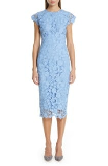 LELA ROSE Fitted Floral Guipure Lace Blue Dress
