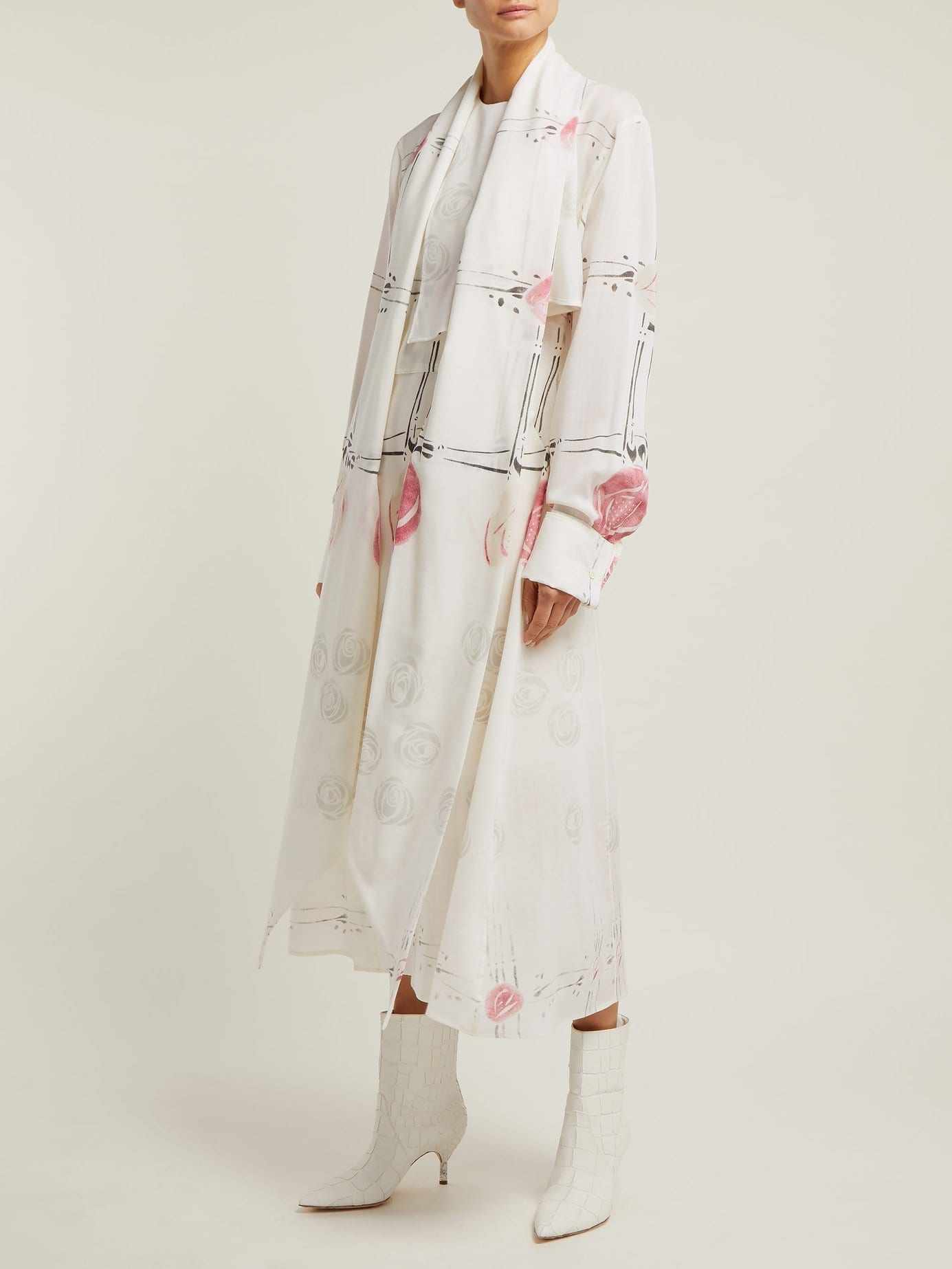 LOEWE X Charles Rennie Mackintosh Rose-print Wool Ivory Dress