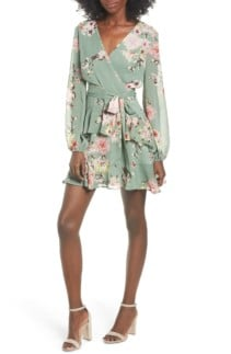 LOVE FIRE Tiered Wrap Green / Floral Printed Dress