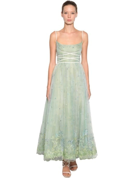 LUISA BECCARIA Embroided Tulle Green Blue Dress