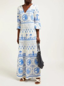 LE SIRENUSE, POSITANO Bella Deifenbach-Print Cotton Maxi White Dress