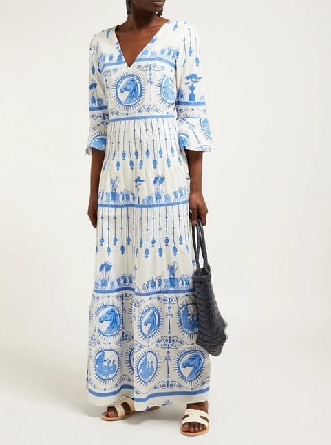 LE SIRENUSE, POSITANO Bella Deifenbach-Print Cotton Maxi White Dress