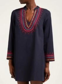 LE SIRENUSE, POSITANO Charlotte Embroidered Cotton Mini Blue Dress