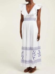 LE SIRENUSE, POSITANO Frida Embroidered Cotton Maxi White Dress