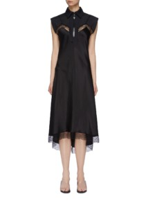 MAISON MARGIELA Chantilly Lace Trim Silk Satin Half-Zip Slip Black Dress