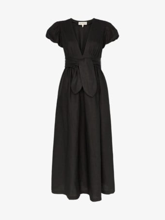 MARA HOFFMAN Savannah Bow Detail Midi Black Dress