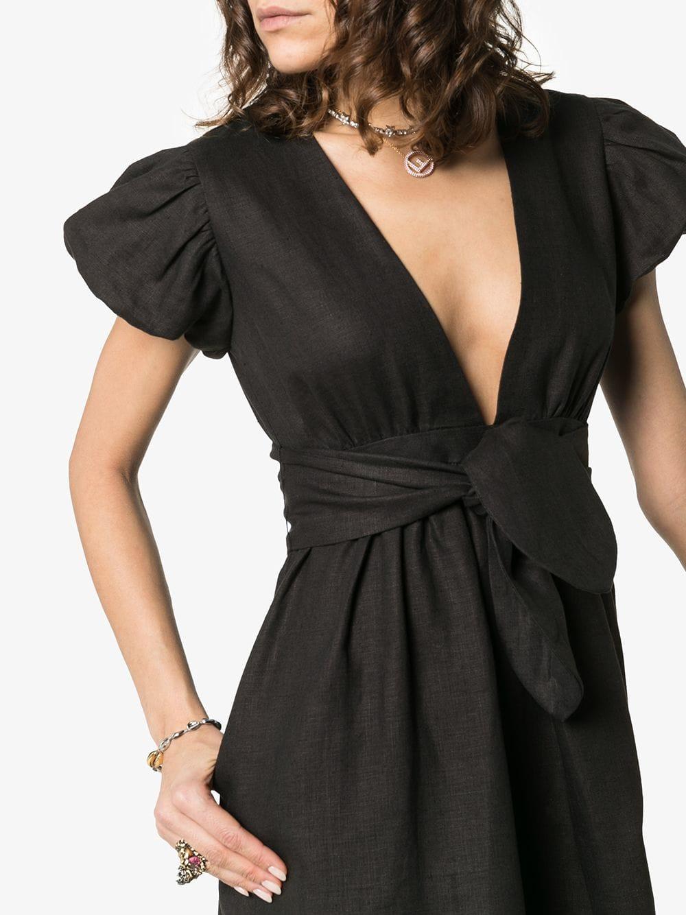MARA HOFFMAN Savannah Bow Detail Midi Black Dress