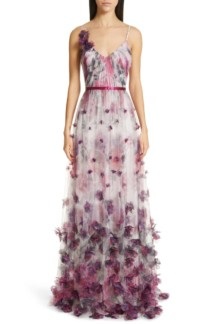 MARCHESA NOTTE 3D Floral Tulle Evening Ivory Dress