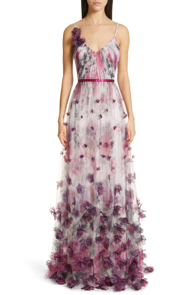 643566218f MARCHESA NOTTE 3D Floral Tulle Evening Ivory Dress - We Select Dresses