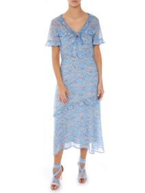 MARKUS LUPFER Ellie Ditzy Blossom Georgette Blue Dress