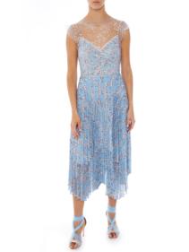 MARKUS LUPFER Jeanna Ditzy Flower Embellished Blue Dress