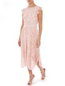 MARKUS LUPFER Sadie Pleated Abstract Animal Pink Dress