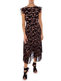 MARKUS LUPFER Sadie Pleated Ditzy Blossom Black Dress