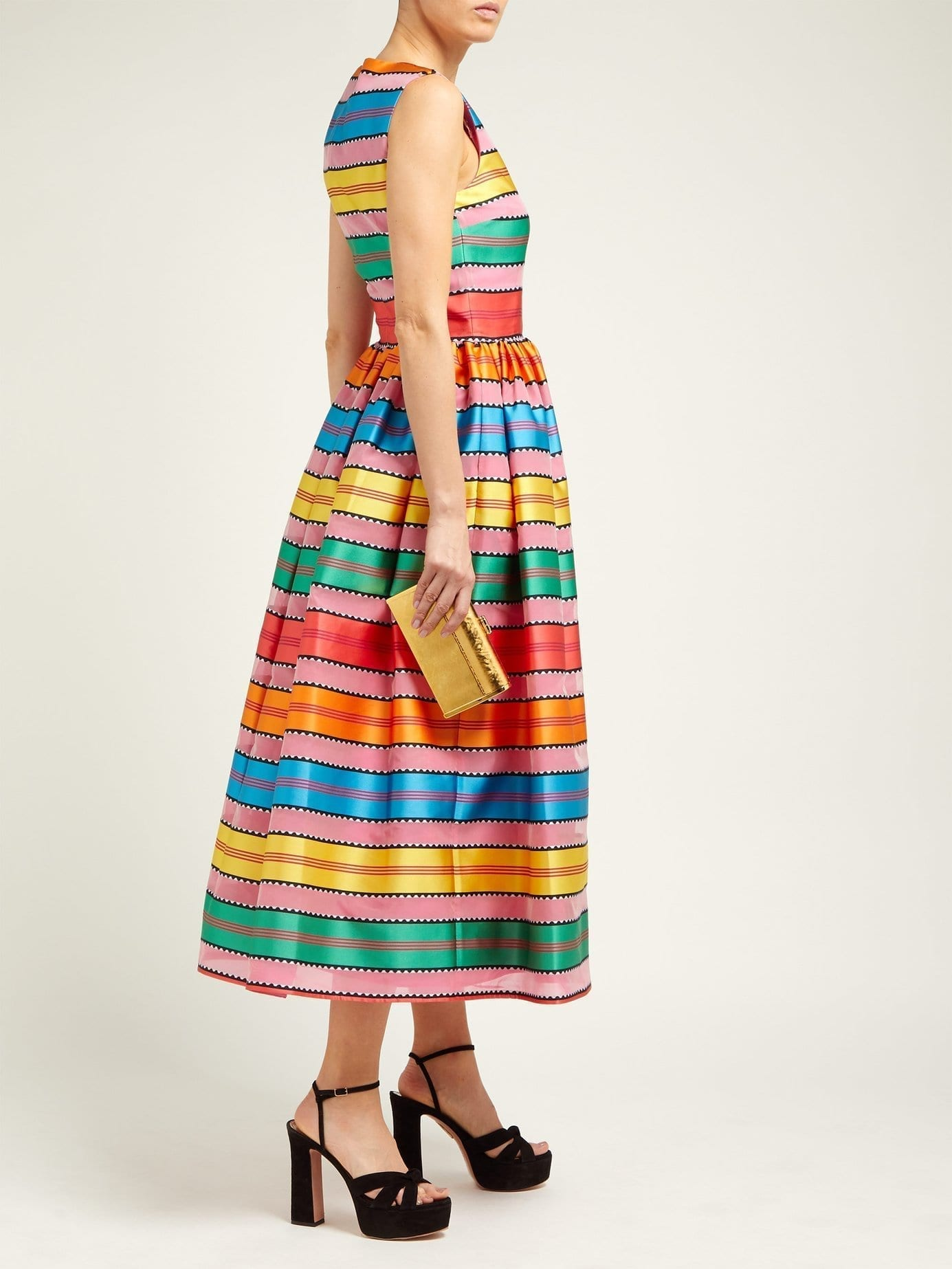 MARY KATRANTZOU Astere Stripe-jacquard Satin Multicolored Gown