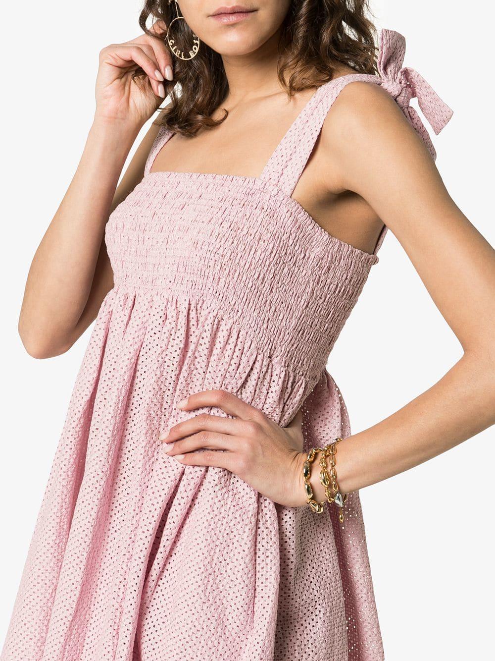 MARYSIA Sicily Tie Strap Smock Pink Dress