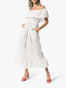 MARYSIA Victoria Off-the-shoulder Cotton White Dress