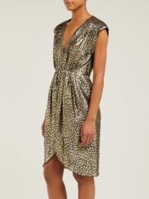 MASSCOB Troya Silk-Lurex Leopard-Pattern Gold Dress
