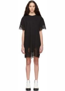 MCQ ALEXANDER MCQUEEN Slouchy Lace T-Shirt Black Dress