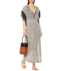 MISSONI MARE Metallic Crochet Kaftan Beige / Black Dress