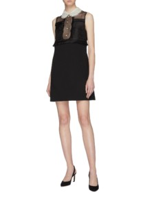 MIU MIU Pleated Silk Organza Panel Virgin Wool Sleeveless Black Dress
