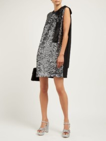 MIU MIU Sequinned Crepe Mini Silver Dress