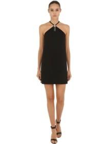 MIU MIU Star Embellished Cady Mini Black Dress