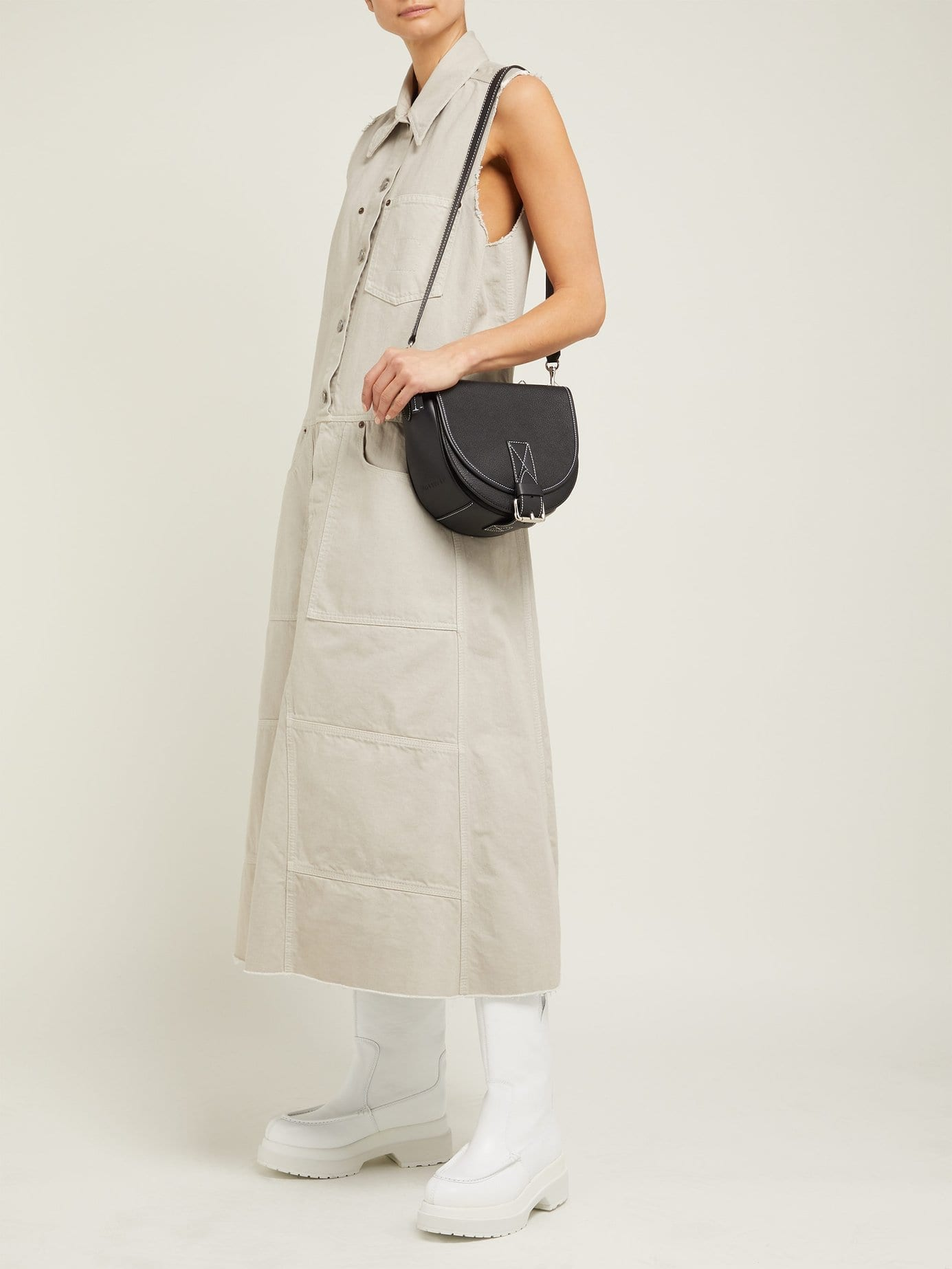 MM6 MAISON MARGIELA Button-down Denim Midi Beige Dress