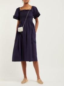 MOLLY GODDARD Adelaide Smocked Square-Neck Midi Navy Dress