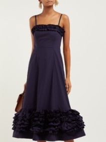 MOLLY GODDARD Susie Ruffled Cotton Navy Dress
