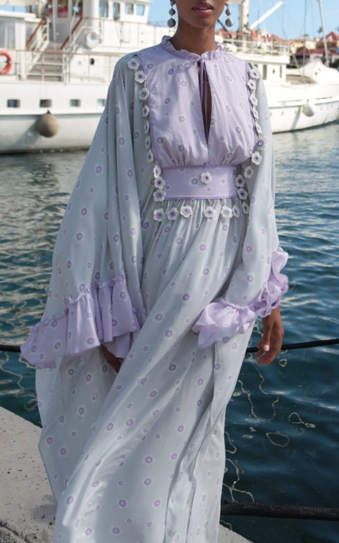 MY BEACHY SIDE Embroidered Voile Caftan Maxi Grey Dress