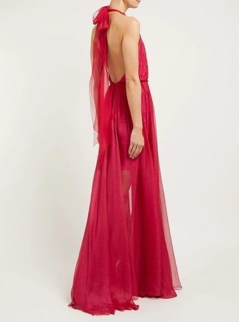 MARIA LUCIA HOHAN Eslem Halterneck Silk-Mousseline Pink Dress