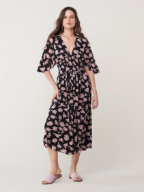NALA Flare Midi Floral Black Dress