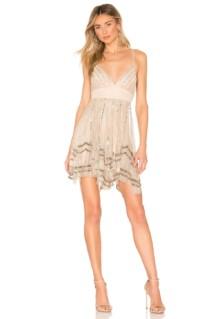NBD Amber Mini Nude / Gold Dress