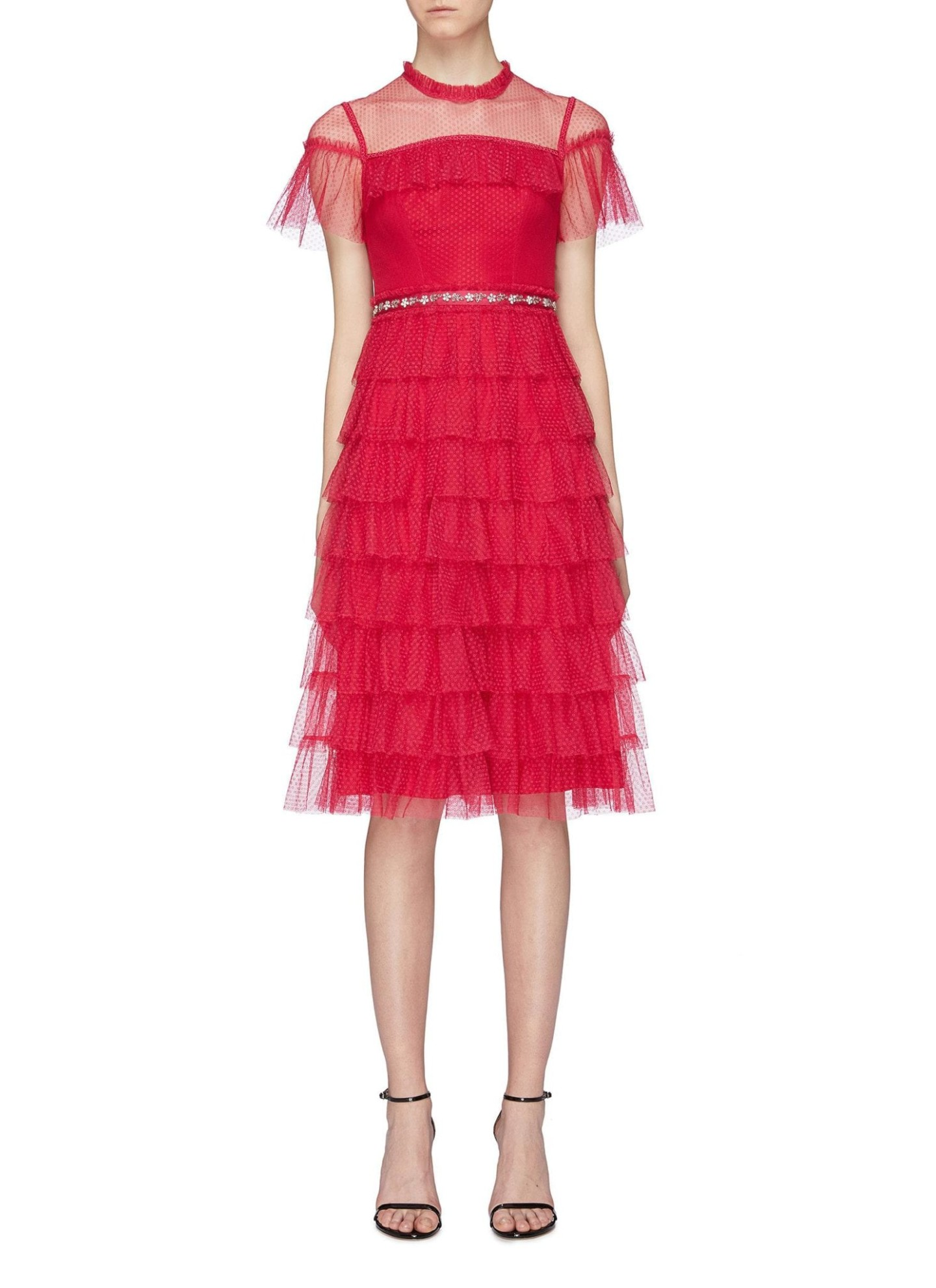 NEEDLE & THREAD 'Dotted' Embellished Waist Ruffle Tiered Tulle Red Dress