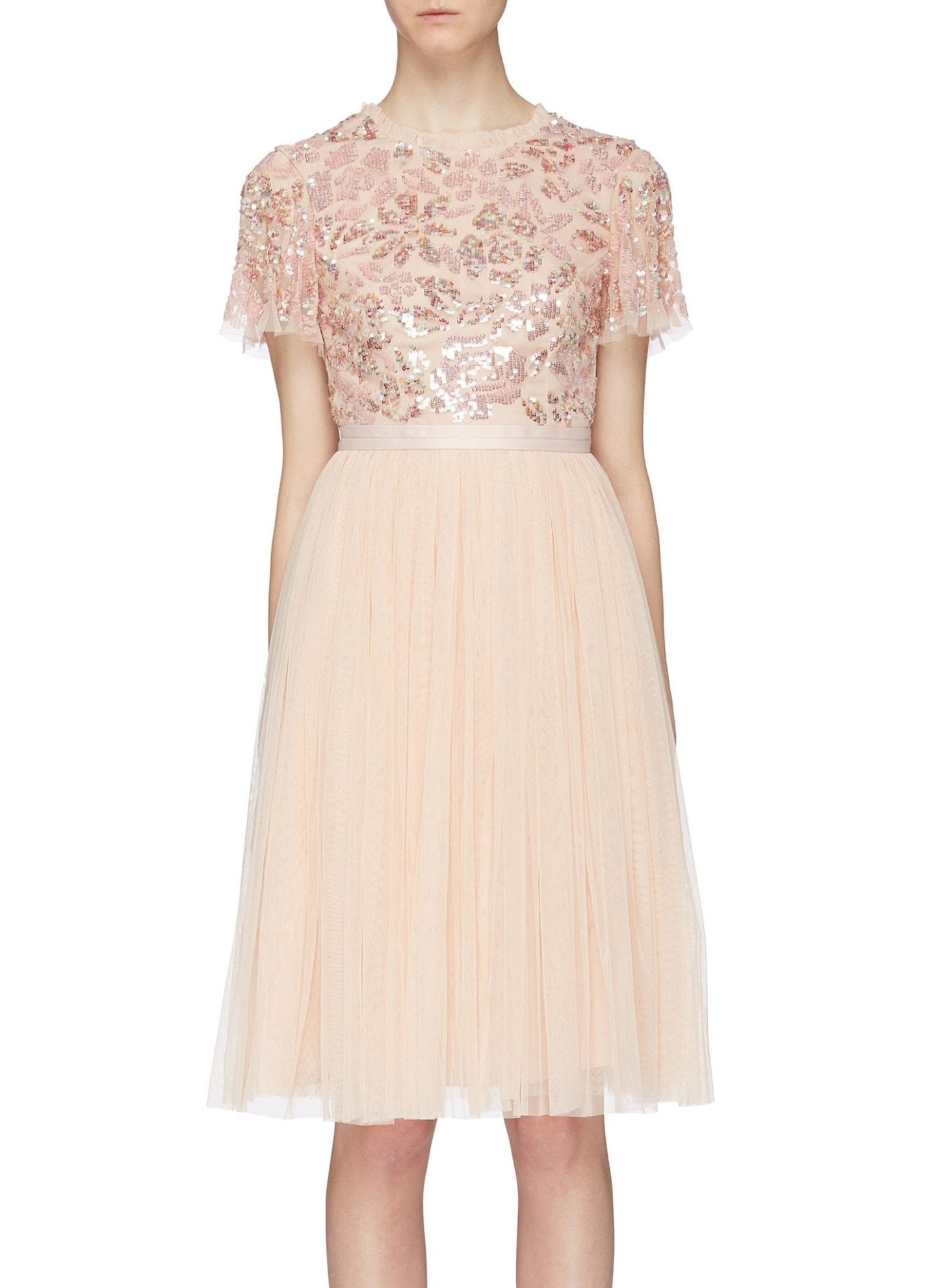 NEEDLE & THREAD 'Dream Rose' Cutout Back Sequin Floral Tulle Pink Dress