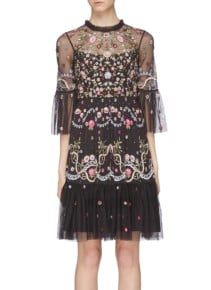 NEEDLE & THREAD 'Dreamers Lace' Floral Embellished Tiered Tulle Black Dress