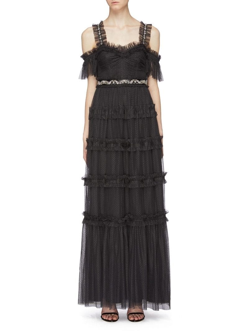 NEEDLE & THREAD 'Helena' Embellished Waist Tiered Off-Shoulder Tulle Black Gown