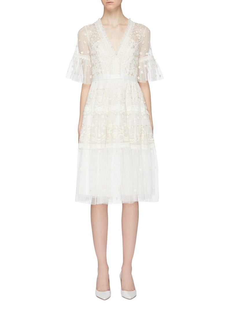 NEEDLE & THREAD 'Midsummer Lace' Floral Embroidered Tiered Tulle White Dress