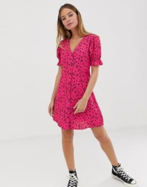 NEW LOOK PETITE Ditsy Floral Button Throuh Tea Pink Dress