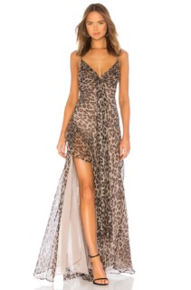 NICHOLAS Tie Front Maxi Brown Dress