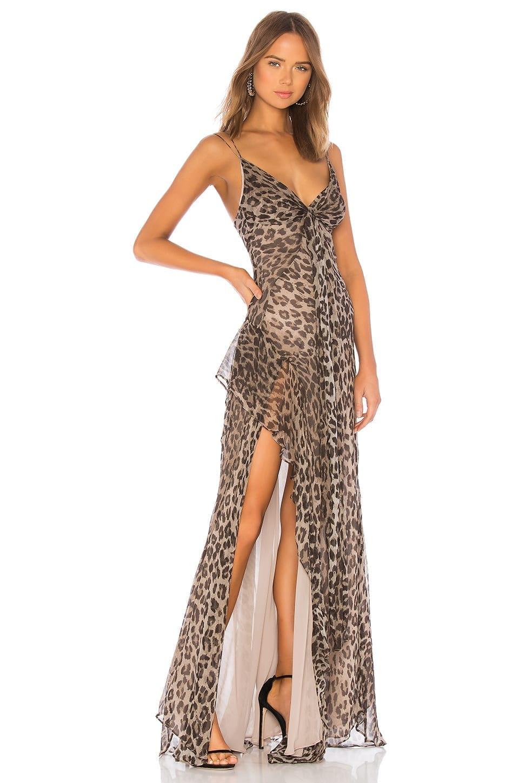NICHOLAS Tie Front Maxi Brown Dress