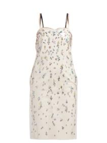 NO. 21 Pvc-layer Crystal-embellished Cotton Cream Dress