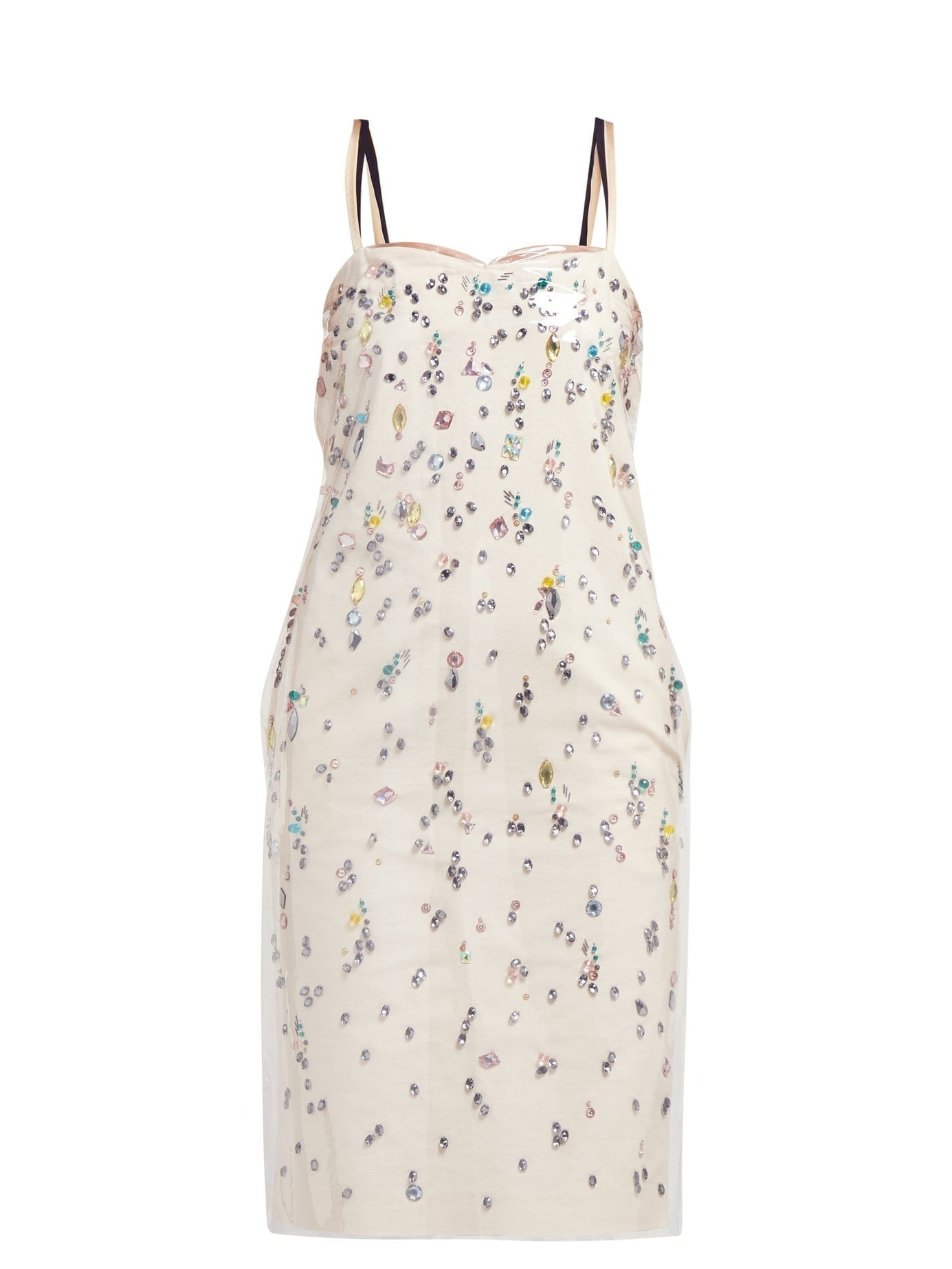 NO. 21 Pvc-layer Crystal-embellished Cotton Cream Dress