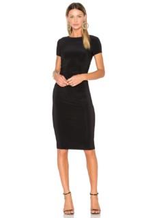 NORMA KAMALI Short Sleeve Shirred Black Dress