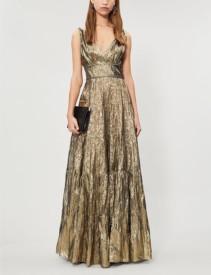 OSCAR DE LA RENTA Metallic Silk-Blend Gold Gown