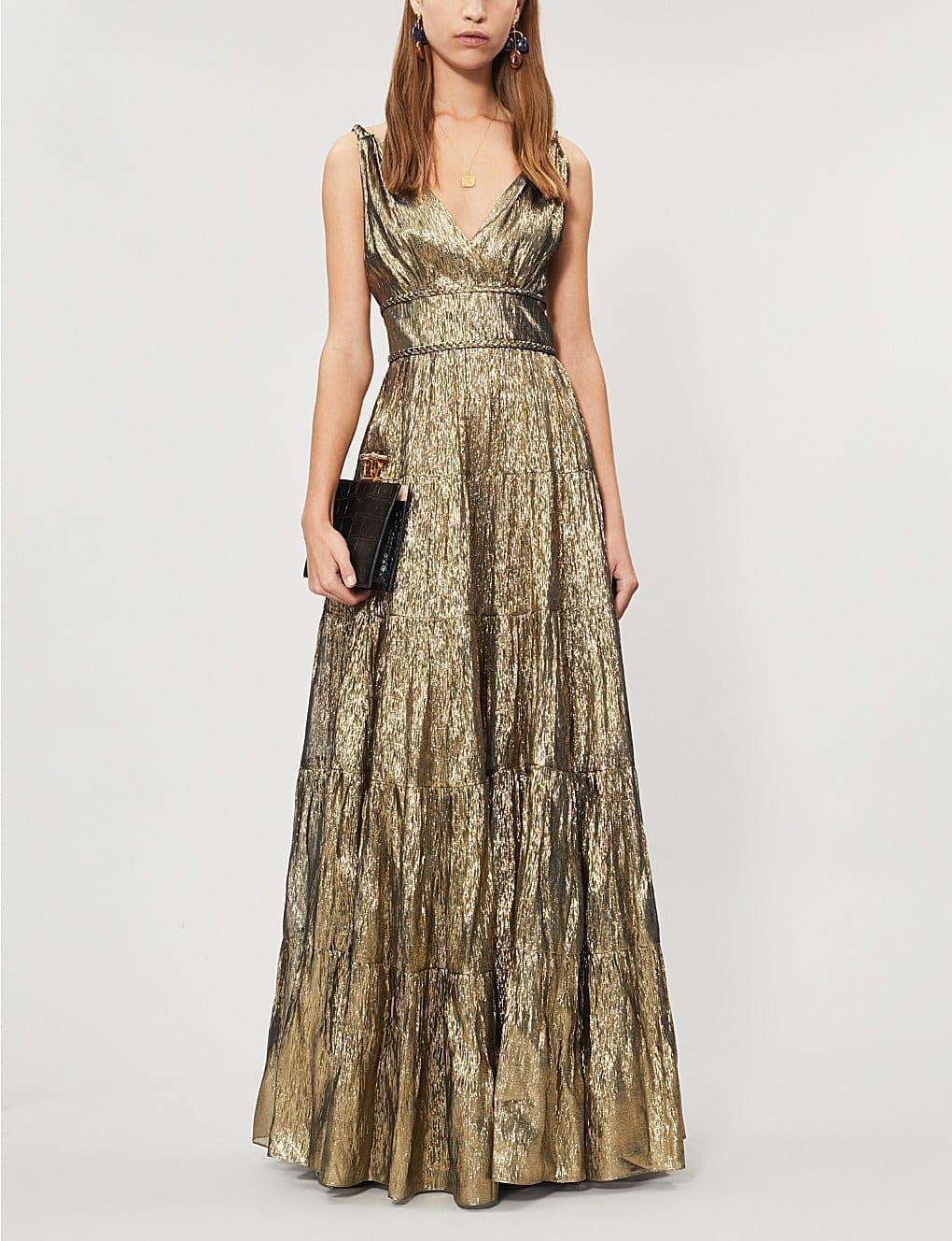 dae9a0e4 OSCAR DE LA RENTA Metallic Silk-Blend Gold Gown - We Select Dresses