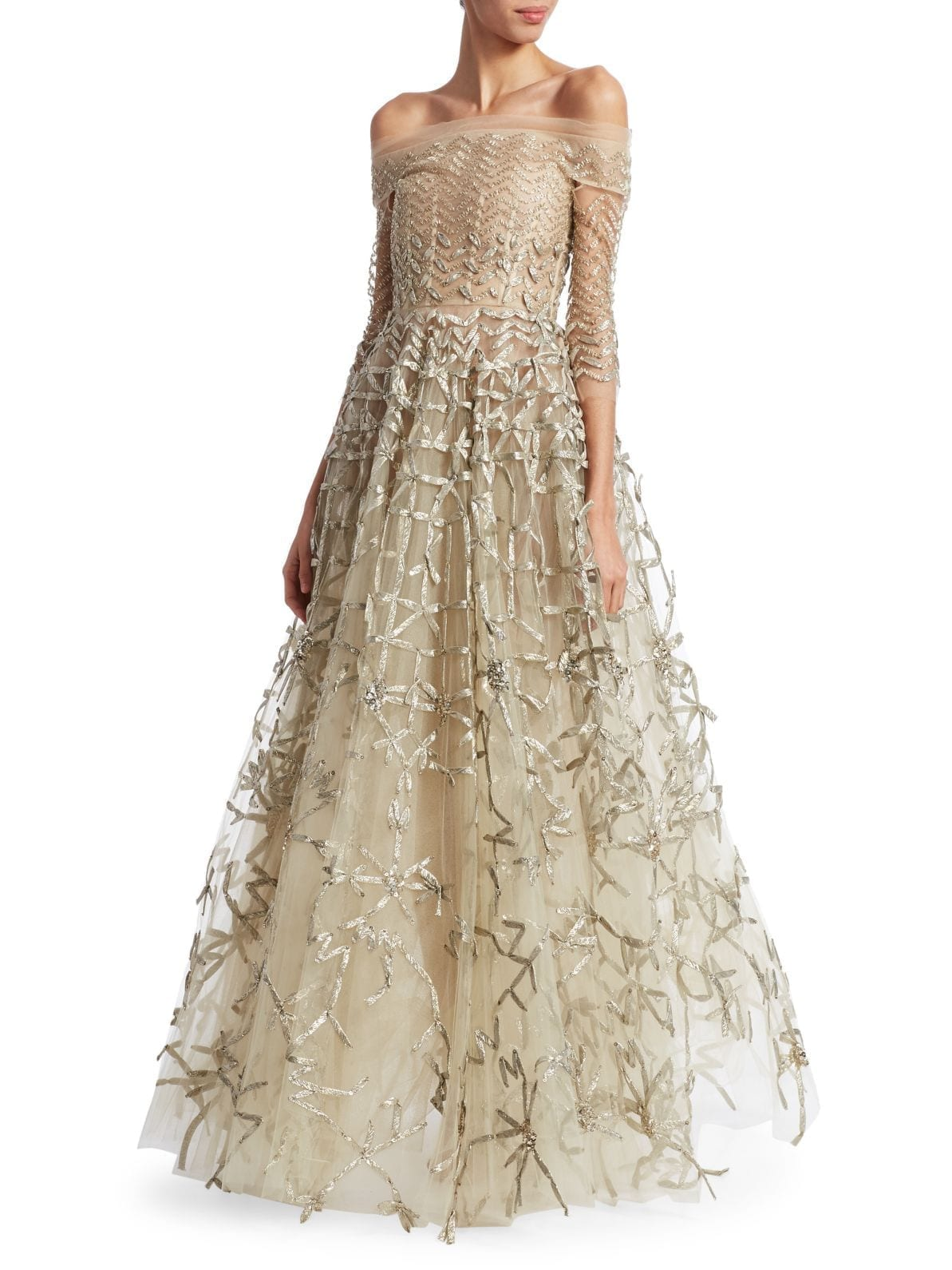 OSCAR DE LA RENTA Off-The-Shoulder Metallic Embroidery Mesh Ball Beige Gown