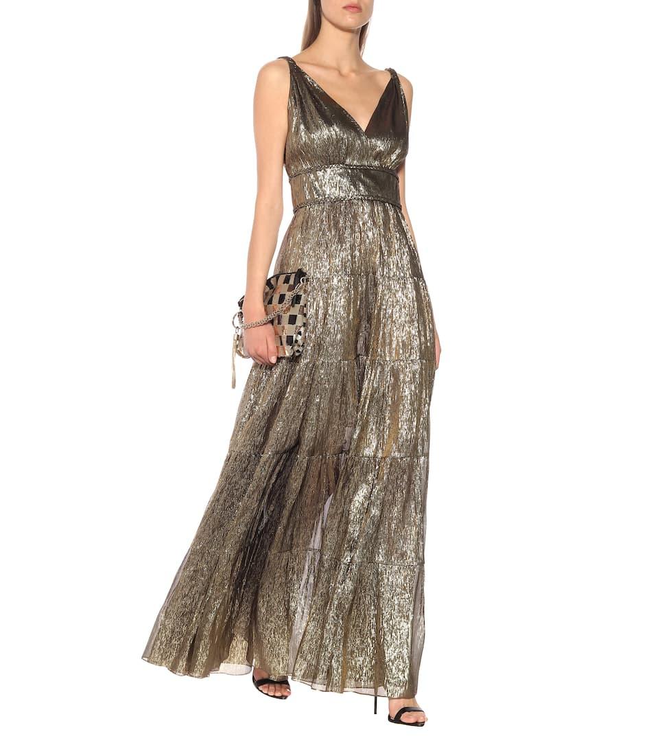 OSCAR DE LA RENTA Silk-Blend Lamé Gold Gown